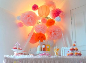 32 baby shower VIP lampion pompons
